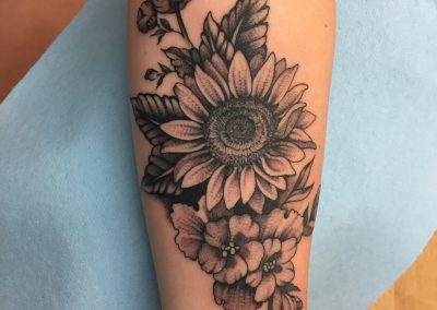 Black and grey flower bouquet tattoo - by Anthony - Maui Tattoo Artist at Mid-Pacific Tattoo