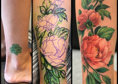 Pink peonies tattoo transformation - by Kaib - Maui Tattoo Artist at Mid-Pacific Tattoo