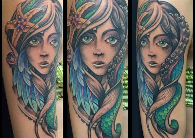 Mermaid with a starfish tattoo - by Kaib - Maui Tattoo Artist at Mid-Pacific Tattoo
