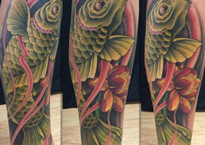 Green koi fish tattoo - by Kaib - Maui Tattoo Artist at Mid-Pacific Tattoo