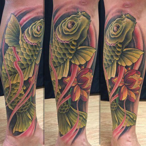 Green koi fish tattoo - by Kaib - Maui Tattoo Artist at Mid-Pacific Tattoo