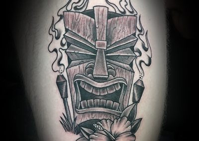 Tiki with torches tattoo - by Matt - Maui Tattoo Artist at Mid-Pacific Tattoo