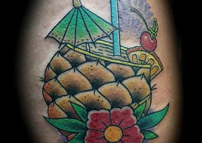 Hawaiian Mai Tai in a pineapple tattoo - by Matt - Maui Tattoo Artist at Mid-Pacific Tattoo
