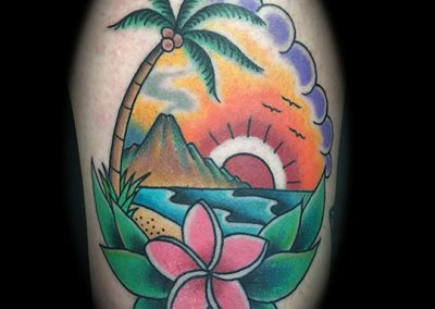 Hawaiian sunset tattoo - by Matt - Maui Tattoo Artist at Mid-Pacific Tattoo
