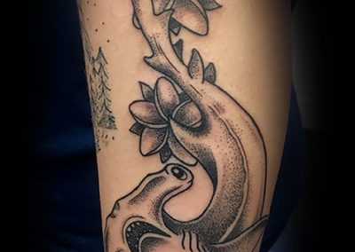 Black and grey dot work Hammerhead shark tattoo - by Matt - Maui Tattoo Artist at Mid-Pacific Tattoo