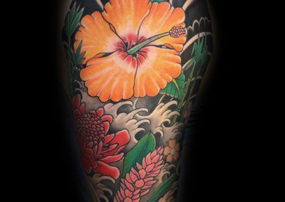 Floral tattoo with Japanese style elements - by Matt - Maui Tattoo Artist at Mid-Pacific Tattoo