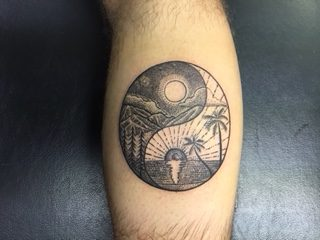Yin Yang tattoo - sunrise and moonshine - by Curtis - Maui Tattoo Artist at Mid-Pacific Tattoo