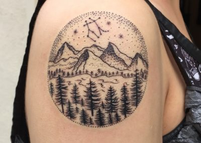 Dotwork Mountain and forest landscape tattoo - by Dani - Maui Tattoo Artist at Mid-Pacific Tattoo