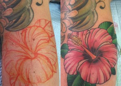 Hawaiian hibiscus tattoo - by Tommy - Maui Tattoo Artist at Mid-Pacific Tattoo