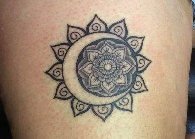 Sun Mandala tattoo - by Dani - Maui Tattoo Artist at Mid-Pacific Tattoo