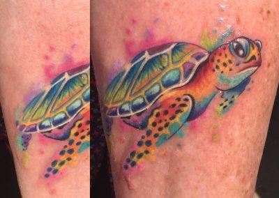 Hawaiian turtle honu tattoo - by Dani - Maui Tattoo Artist at Mid-Pacific Tattoo