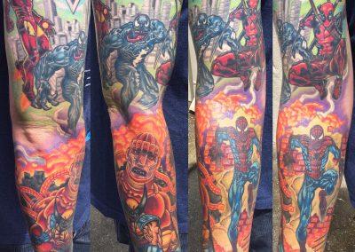 Marvel tattoo sleeve - by Dani - Maui Tattoo Artist at Mid-Pacific Tattoo