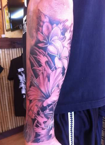 Black and grey flowers tattoo - by Tommy - Maui Tattoo Artist at Mid-Pacific Tattoo