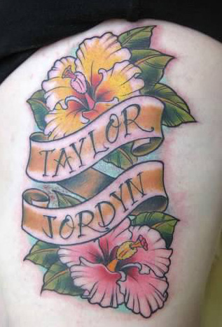 Names on banners with hibiscus tattoo - by Tommy - Maui Tattoo Artist at Mid-Pacific Tattoo