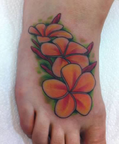 Plumeria flowers in color tattoo - by Tommy - Maui Tattoo Artist at Mid-Pacific Tattoo
