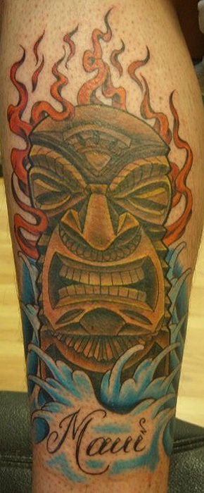 Maui Tiki tattoo - by Tommy - Maui Tattoo Artist at Mid-Pacific Tattoo