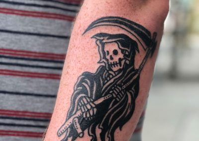 Death with a sickle tattoo - by Sagent Staygold - Maui Tattoo Artist at Mid-Pacific Tattoo
