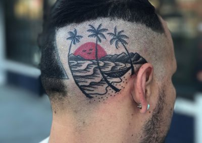 Sunset head tattoo - by Sagent Staygold - Maui Tattoo Artist at Mid-Pacific Tattoo