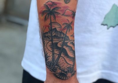 Sunset over a mountain tattoo - by Sagent Staygold - Maui Tattoo Artist at Mid-Pacific Tattoo