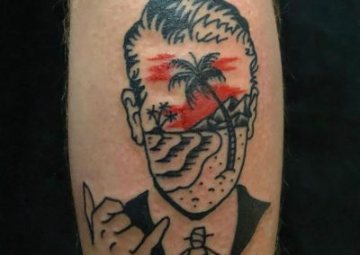 Paradise Army tattoo - man with a shaka - by Sagent Staygold - Maui Tattoo Artist at Mid-Pacific Tattoo