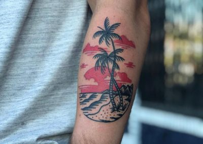 Sunset tattoo - by Sagent Staygold - Maui Tattoo Artist at Mid-Pacific Tattoo