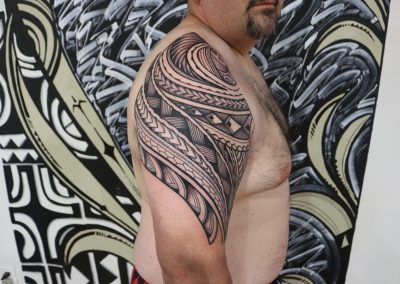 Polynesian tribal shoulder tattoo by Jacob - Maui Tattoo Artist at Mid-Pacific Tattoo