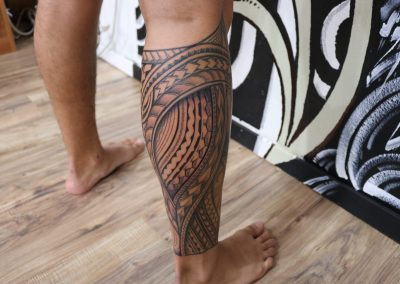 Polynesian warrior leg tattoo by Jacob - Maui Tattoo Artist at Mid-Pacific Tattoo
