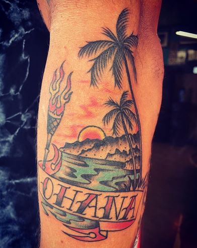 Hawaiian sunset with Ohana banner tattoo by Maui Tattoo artist Noah at Mid-Pacific Tattoo