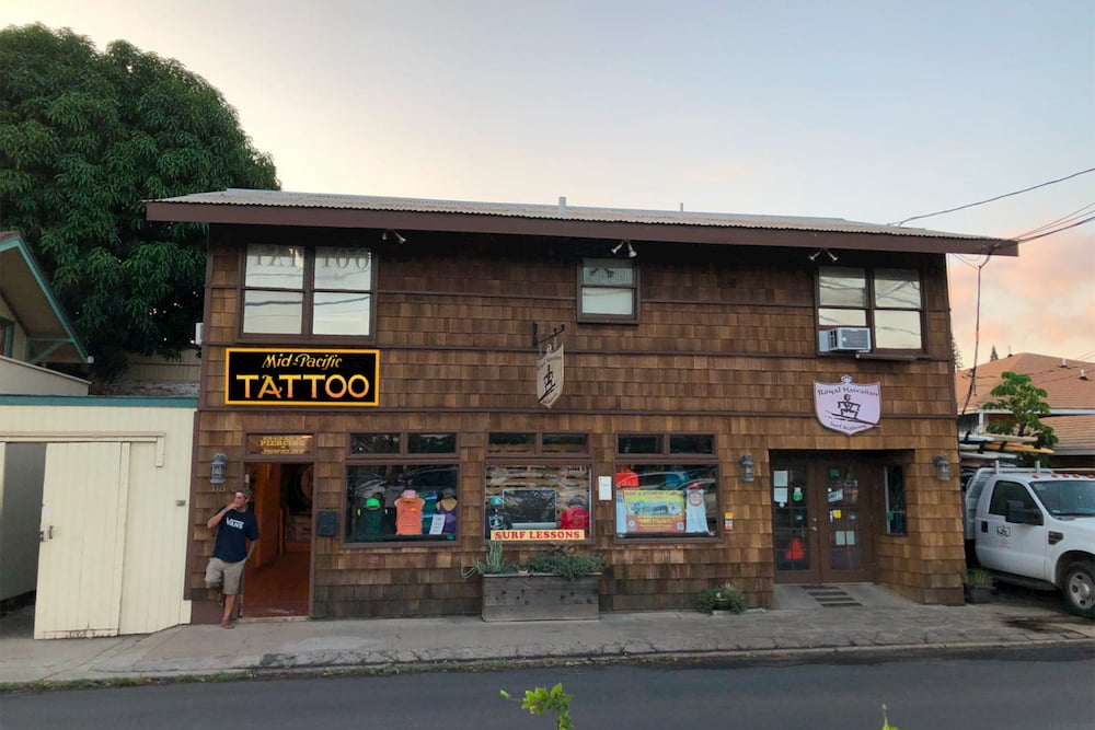 Mid-Pacific Tattoo Prison Street location, also known as Maui Atomic Tattoo, in downtown Lahaina, Maui, Hawaii, located at 113A Prison Street upstairs.