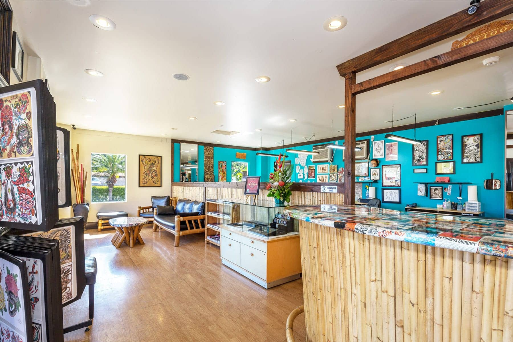 Mid-Pacific Tattoo Lahainaluna Road location in Lahaina Maui, inside the shop